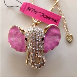 Jewelry - Gold Filled Pink Elephant CZ Necklace